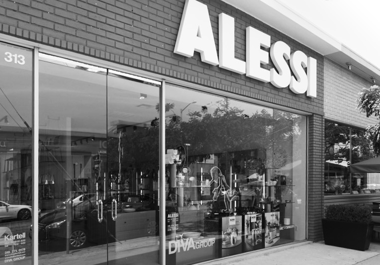 storefront of the Alessi showroom in West Hollwod